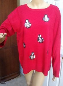 Verve ami Cozy Soft Woman's Red Sweater With Sequi